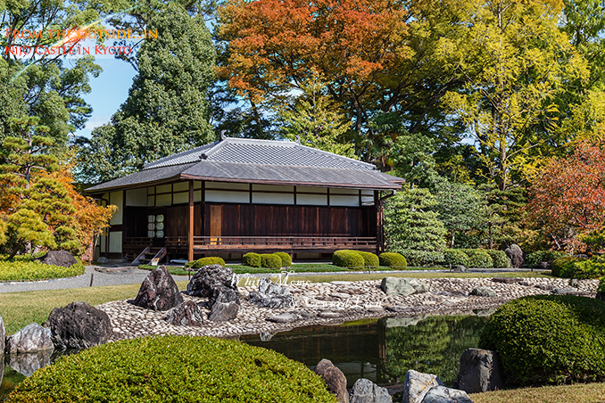 Seiryu-en garden and Teahouse at Nijo Castle in Kyoto, Japan KYOTO, JAPAN - OCTOBER 23: Nijo Castlein Kyoto, Japan on October 23, 2014. A flatland castle, one of the seventeen assets of Historic Monuments of Ancient Kyoto which is designated by UNESCO as a World Heritage Site