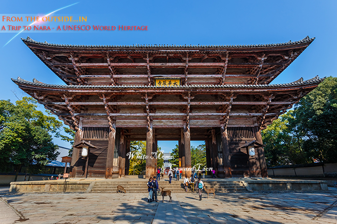 NARA, JAPAN - NOVEMBER 16: Nandaimon in Nara, Japan on November 16, 2013. Great South Gate with the dancing Nio figures are reconstruction of end-12th century based on Song Dynasty style